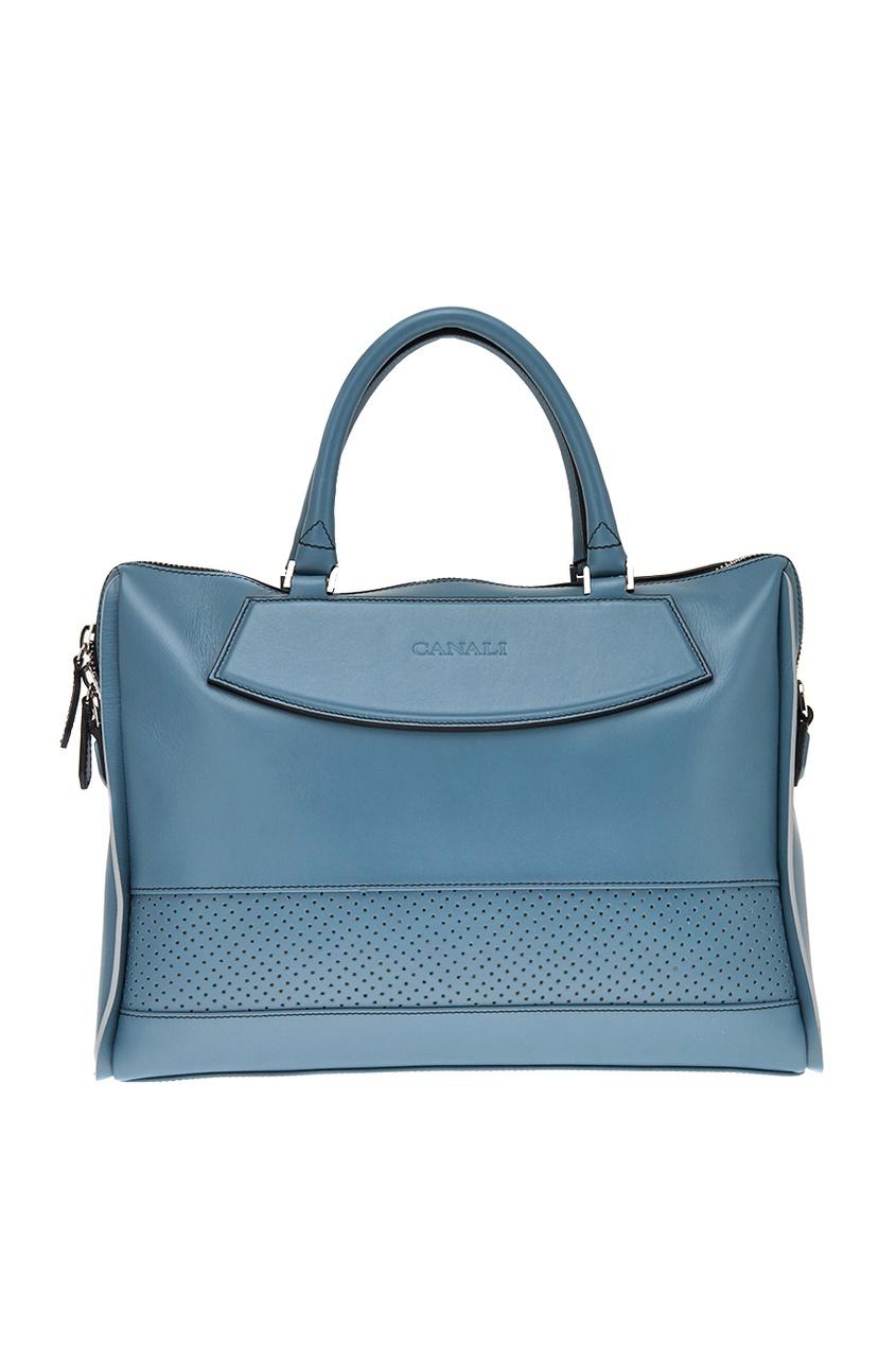 Canali Кожаный портфель голубого цвета толстовка нежно голубого цвета brums ут 00008785