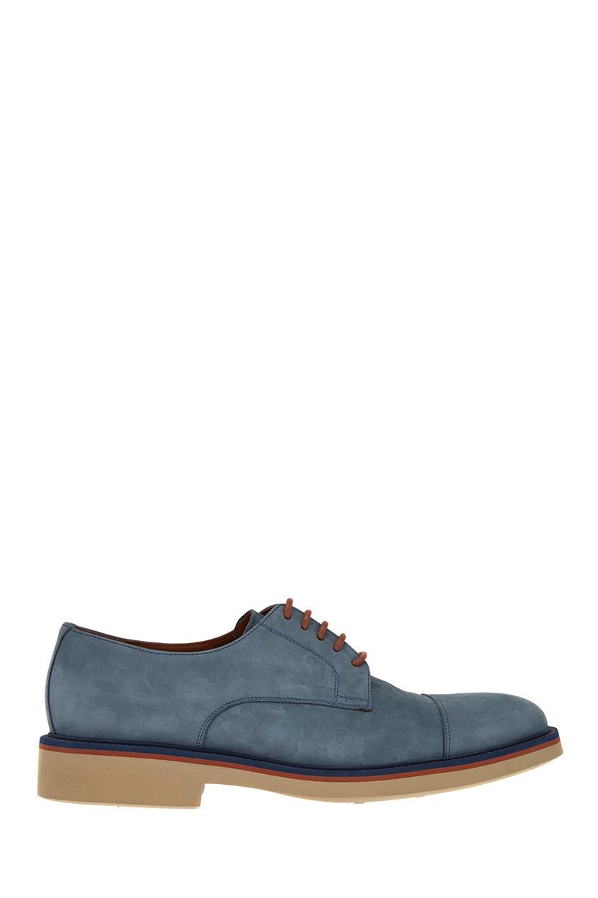 Canali Голубые замшевые дерби canali пальто с контрастным узором