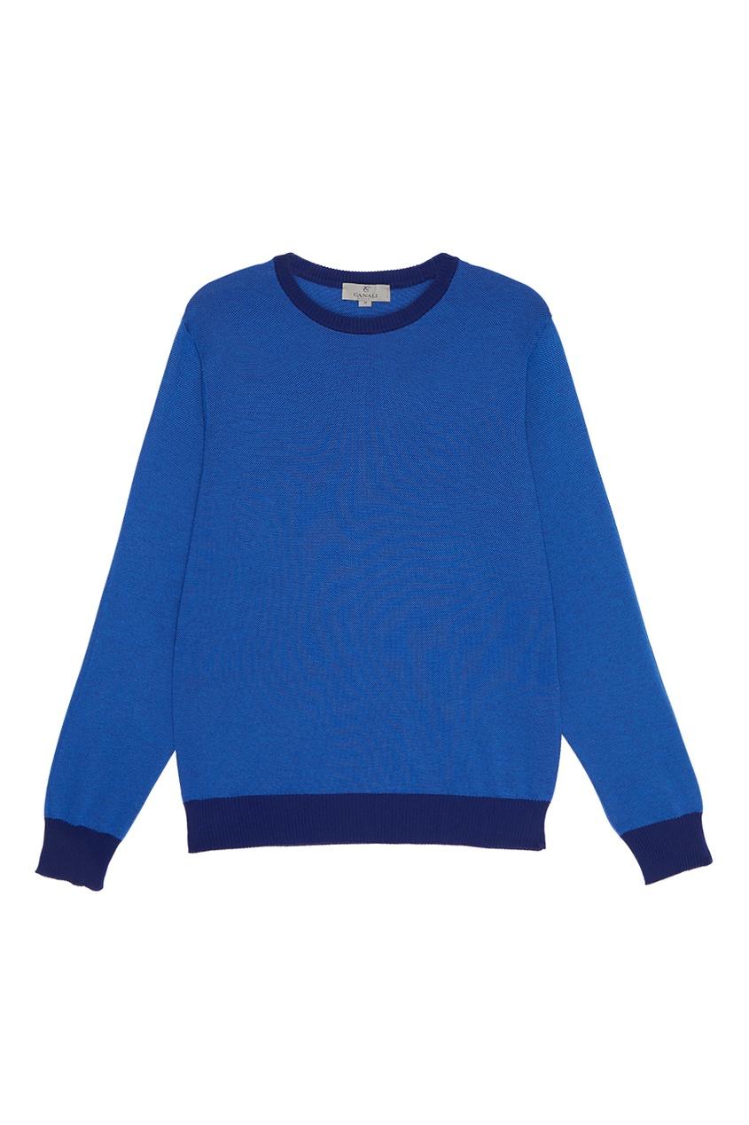 Canali Синий джемпер с контрастными окантовками ostin блузка с контрастными окантовками