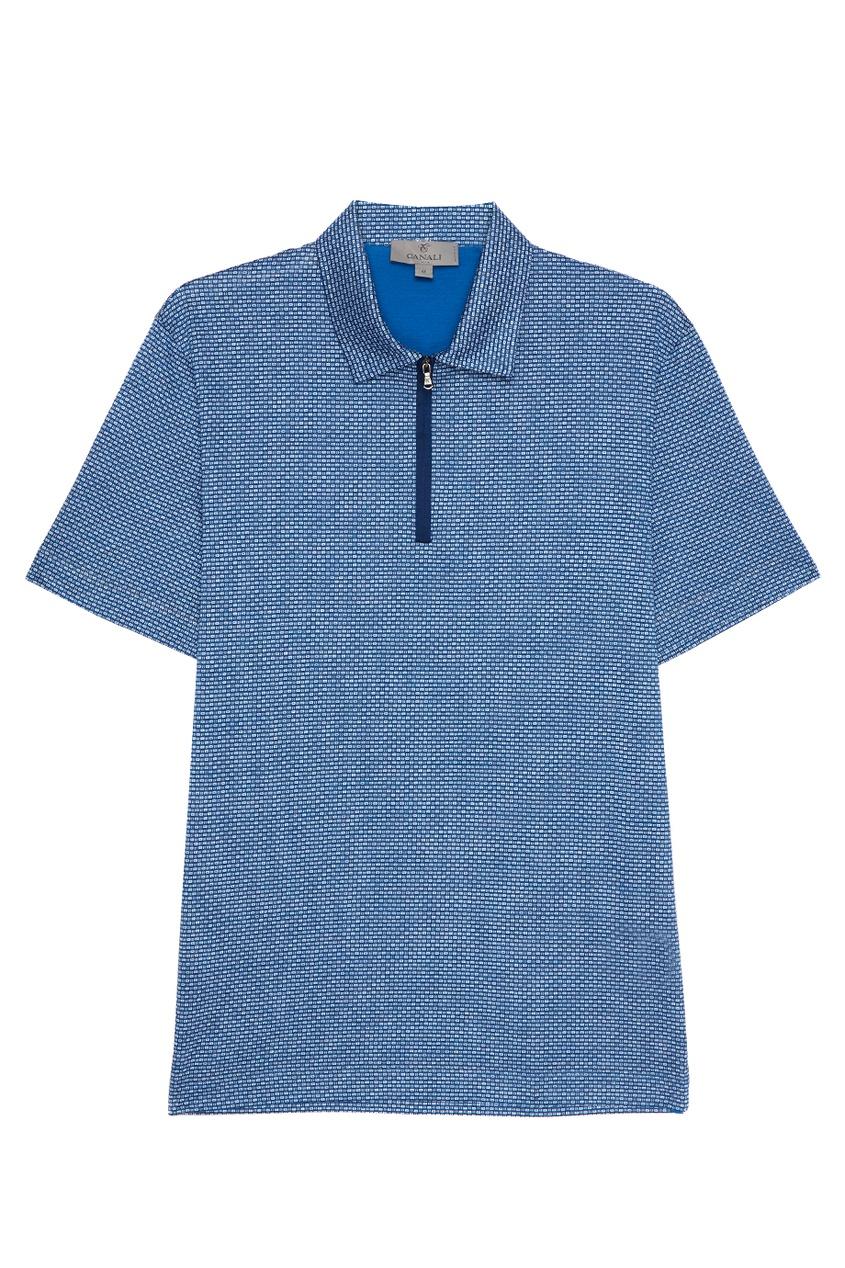 Canali Хлопковая рубашка-поло с принтом поло синее с принтом ido ут 00004176