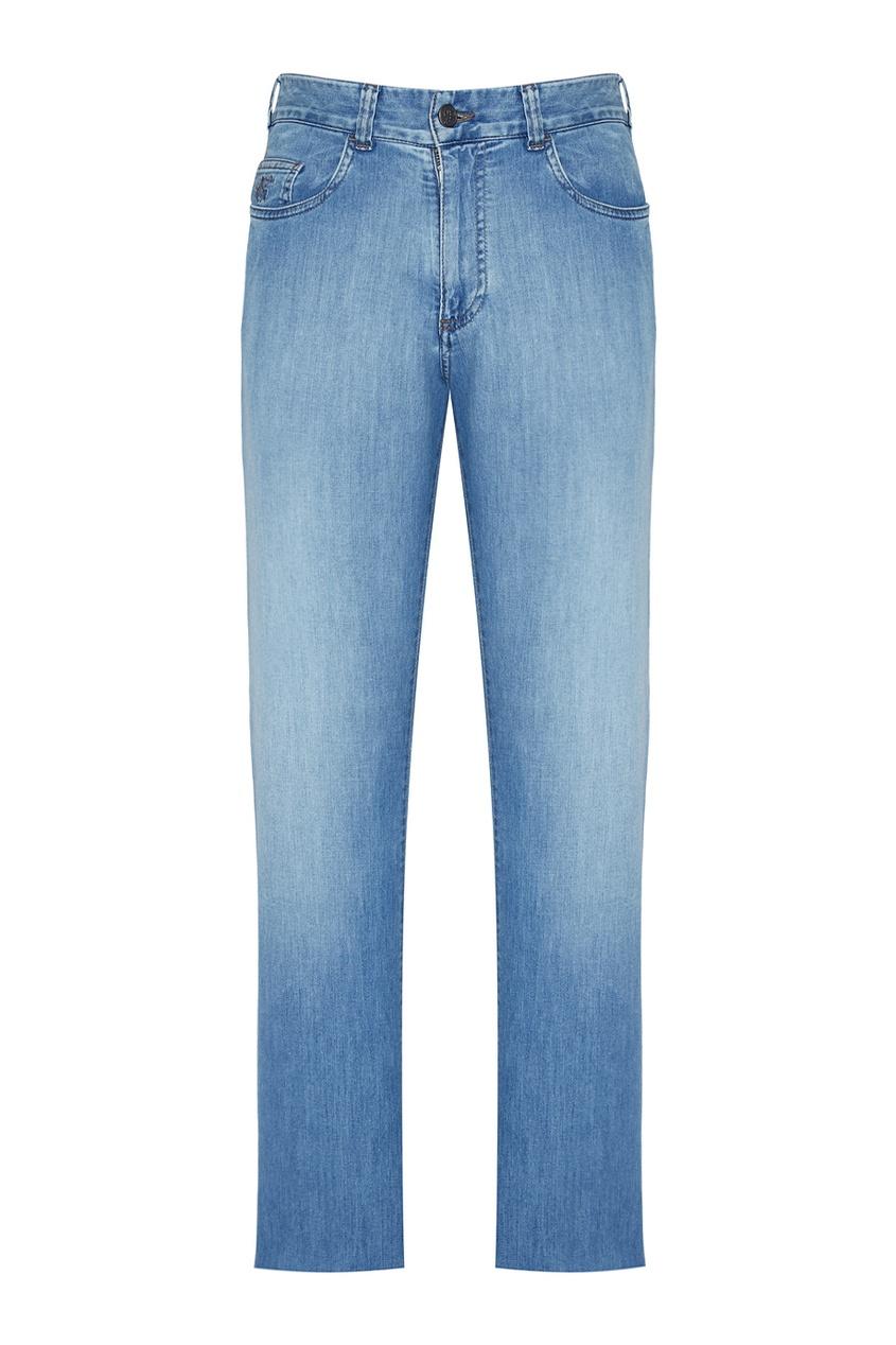 Canali Голубые потертые джинсы