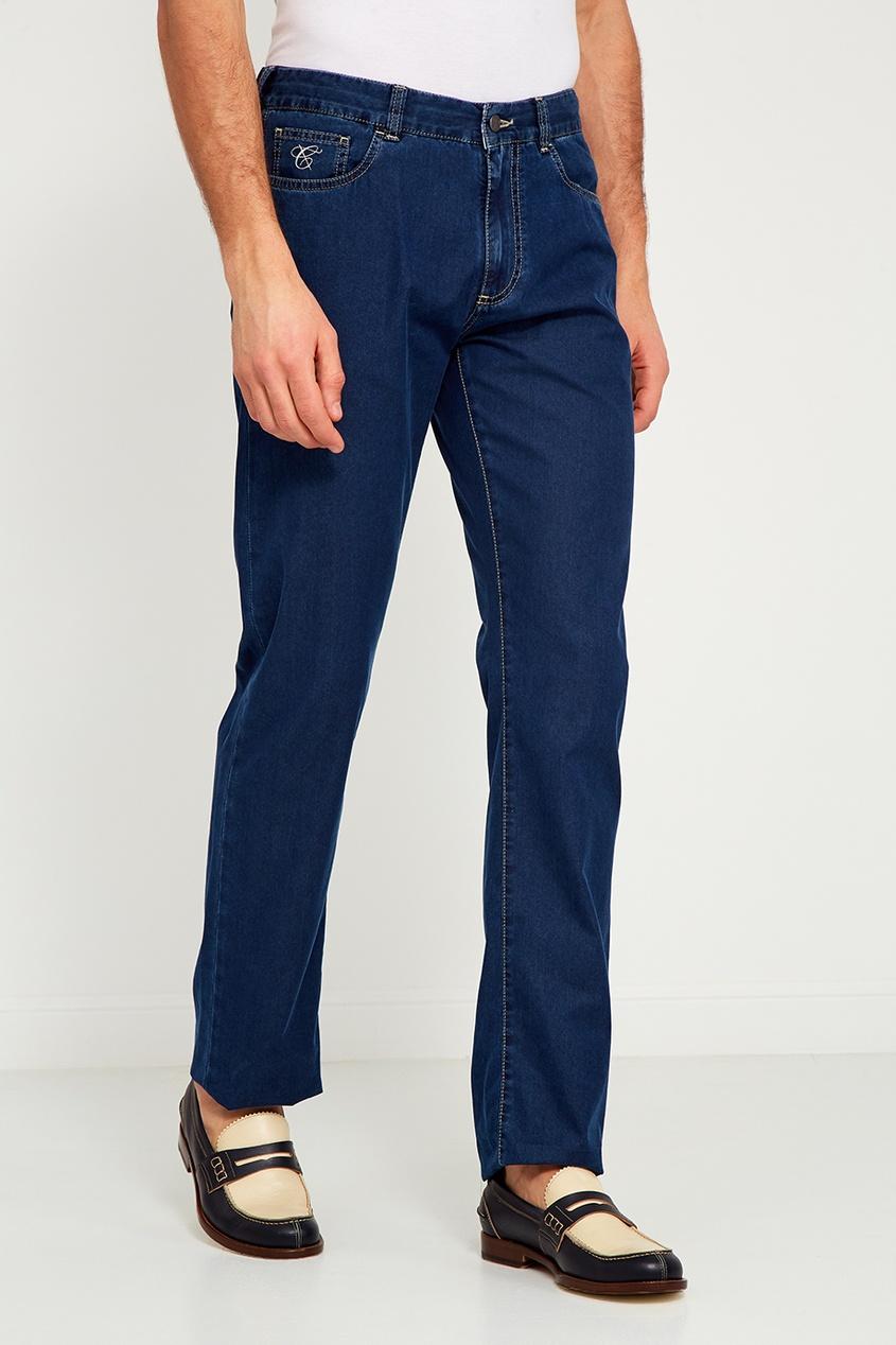 Canali Синие джинсы с логотипом