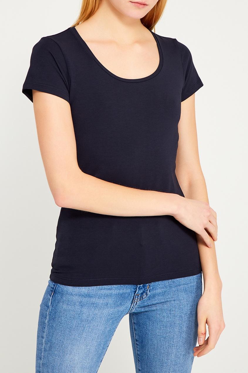 Синяя футболка свободного кроя с круглым вырезом