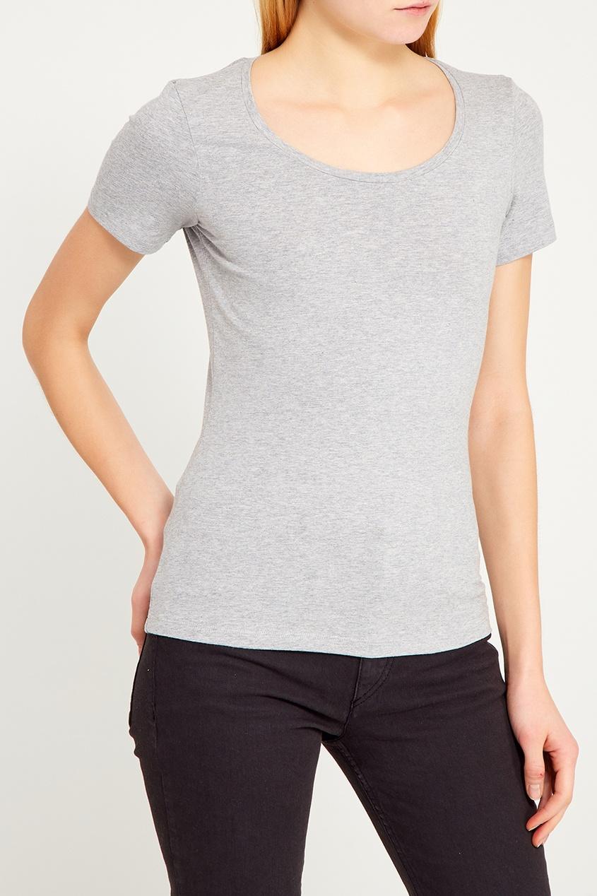 Серая футболка свободного кроя с круглым вырезом