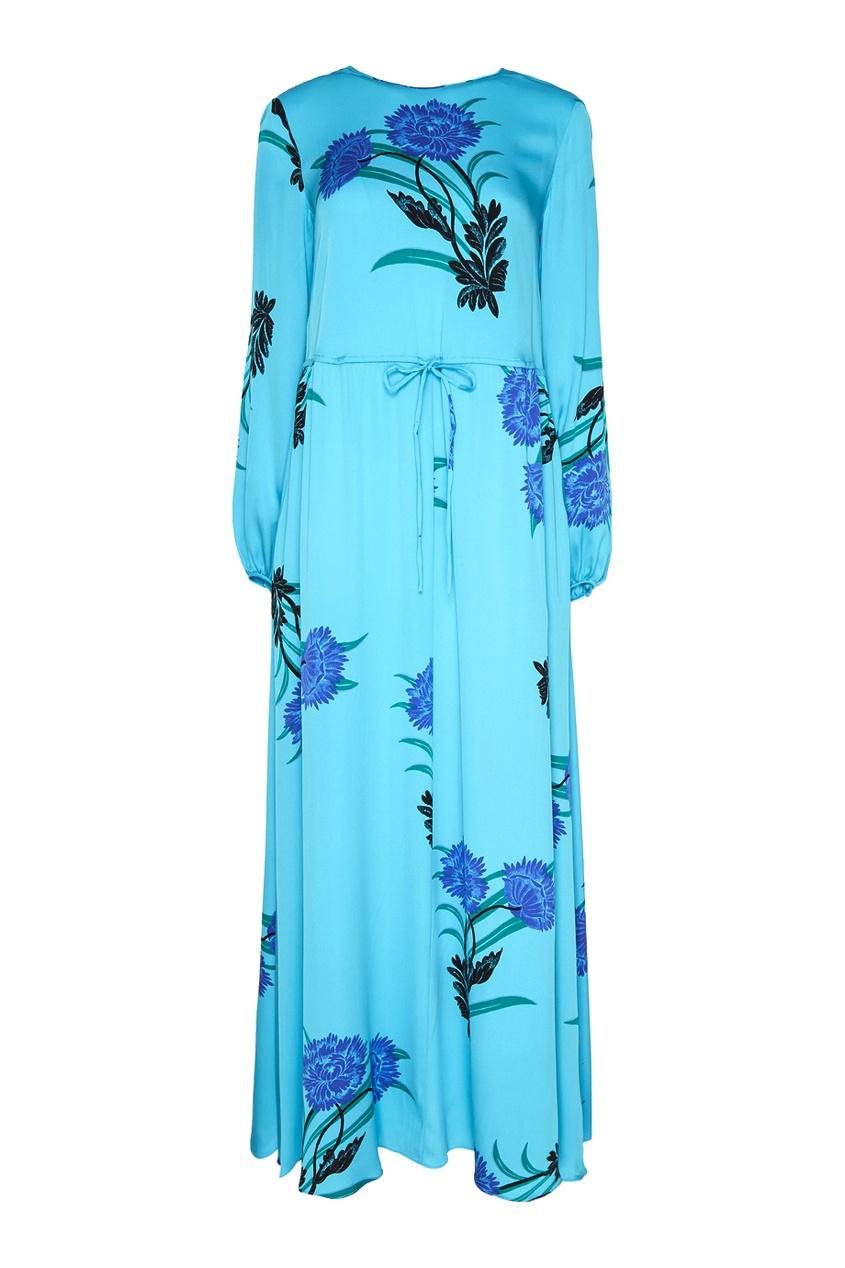 Шелковое платье-макси с васильками