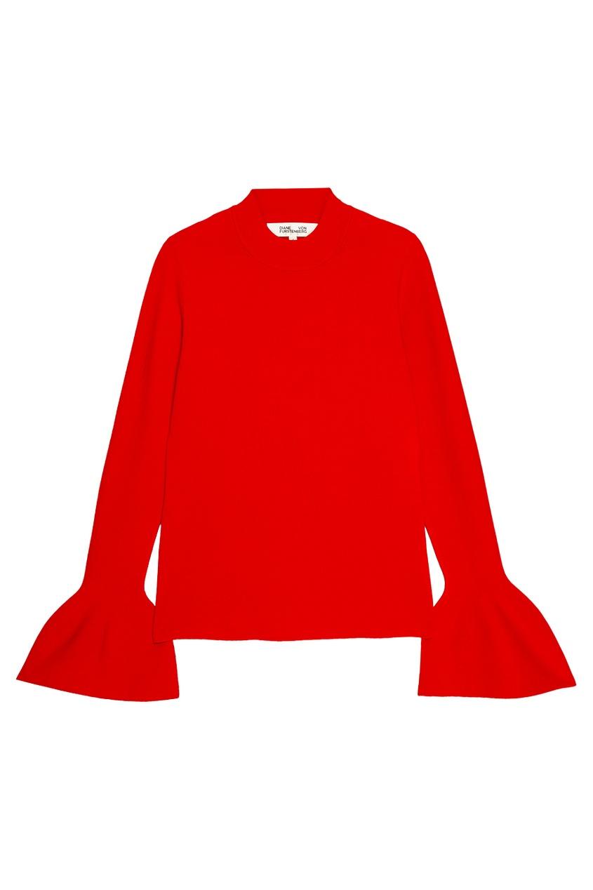 Красный джемпер с расклешенными рукавами