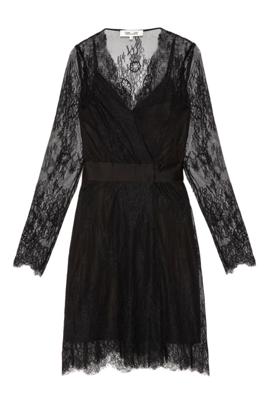 Diane von Furstenberg Черное кружевное платье платье черное с паетками 44