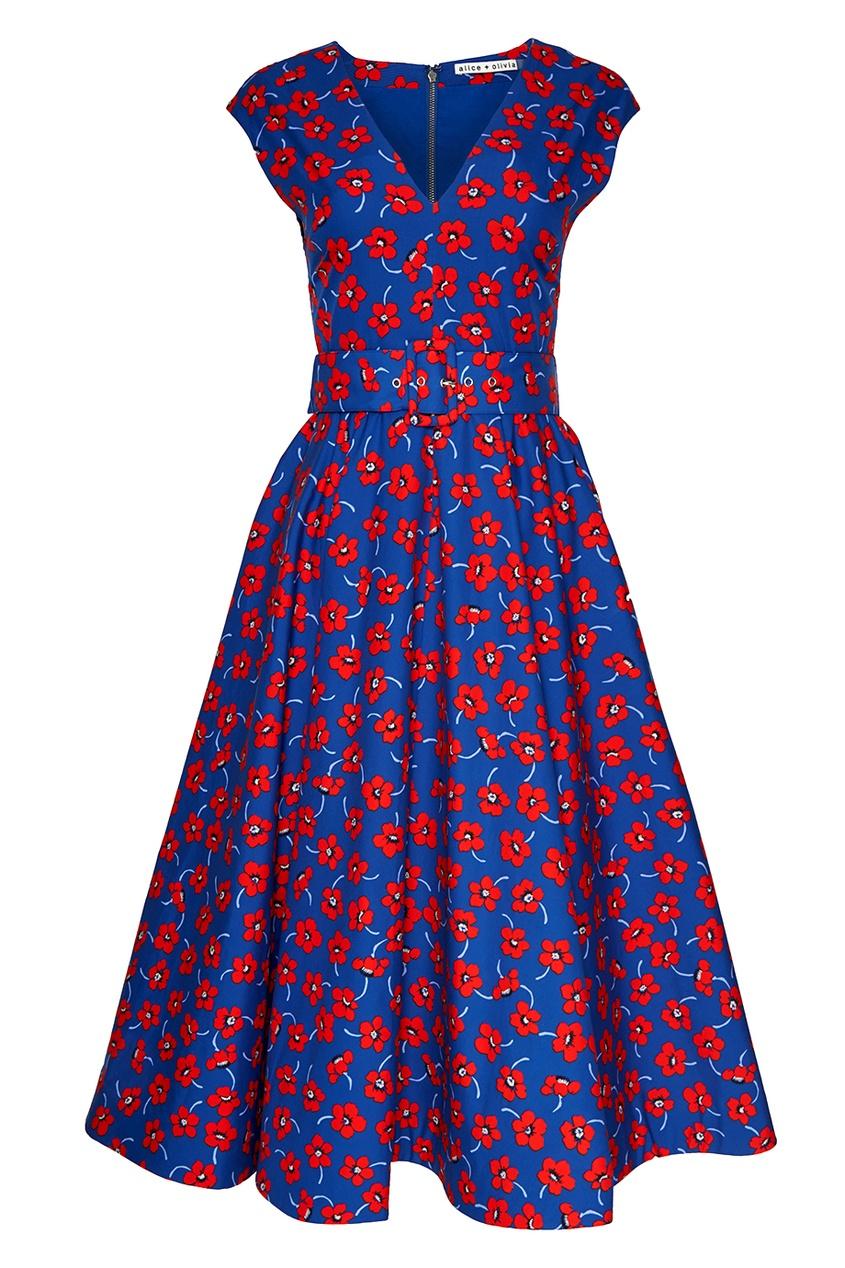 Alice + Olivia Хлопковое платье с цветами alice olivia платье с вышивкой люрексом