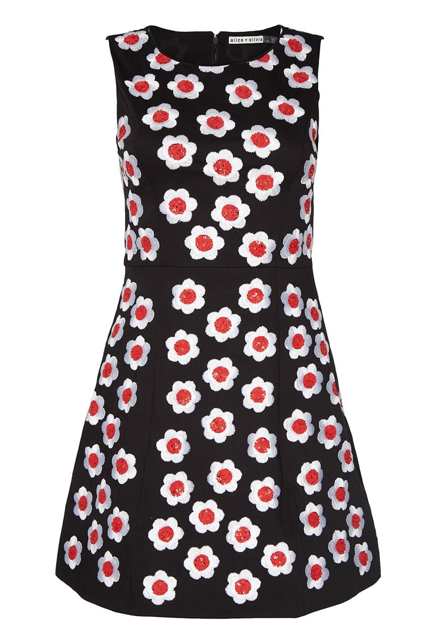 Alice + Olivia Хлопковое платье с вышитыми цветами alice olivia платье с вышивкой люрексом