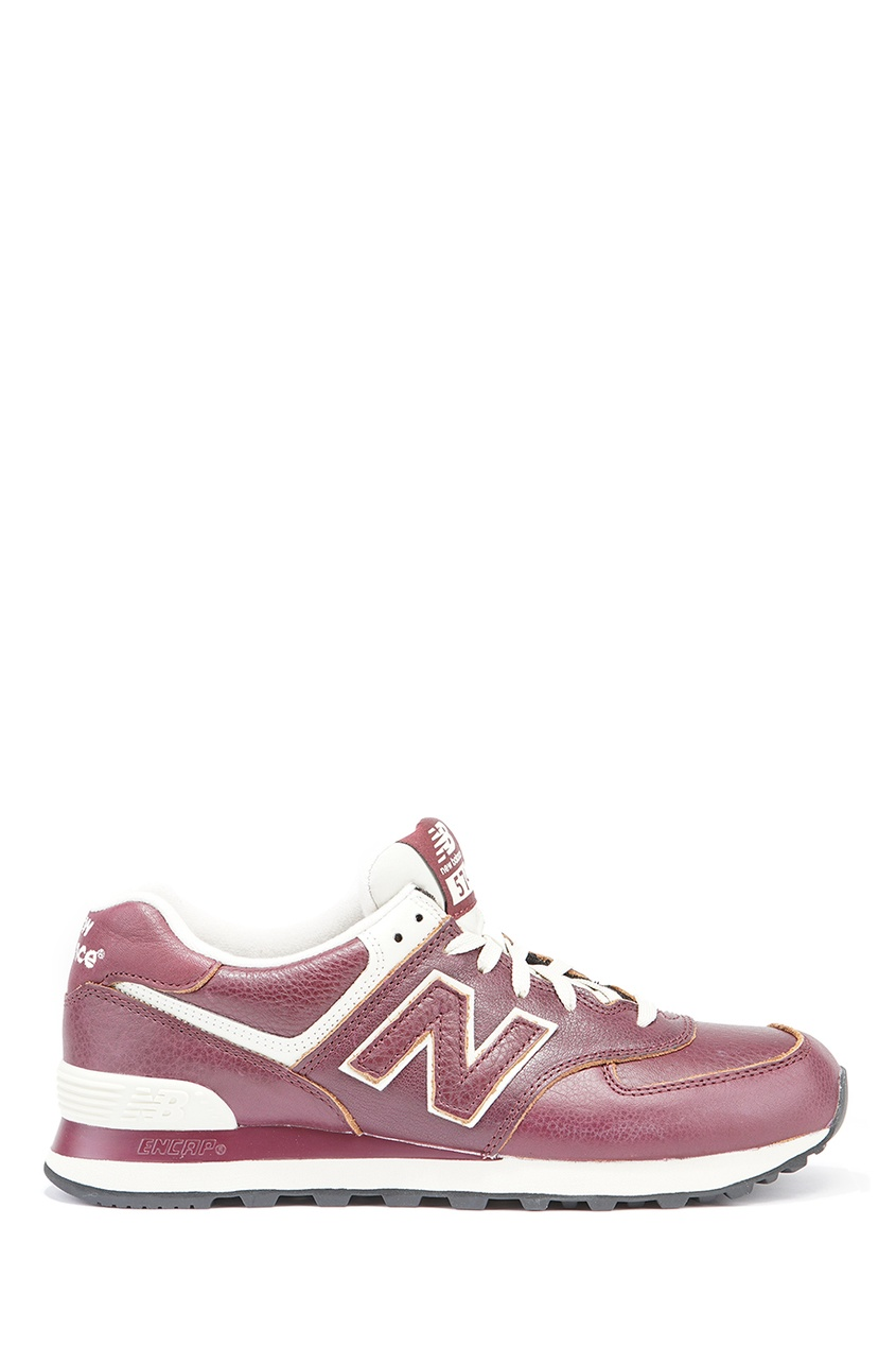 New Balance Бордовые кожаные кроссовки №574 купить new balance u420ukg в сургуте