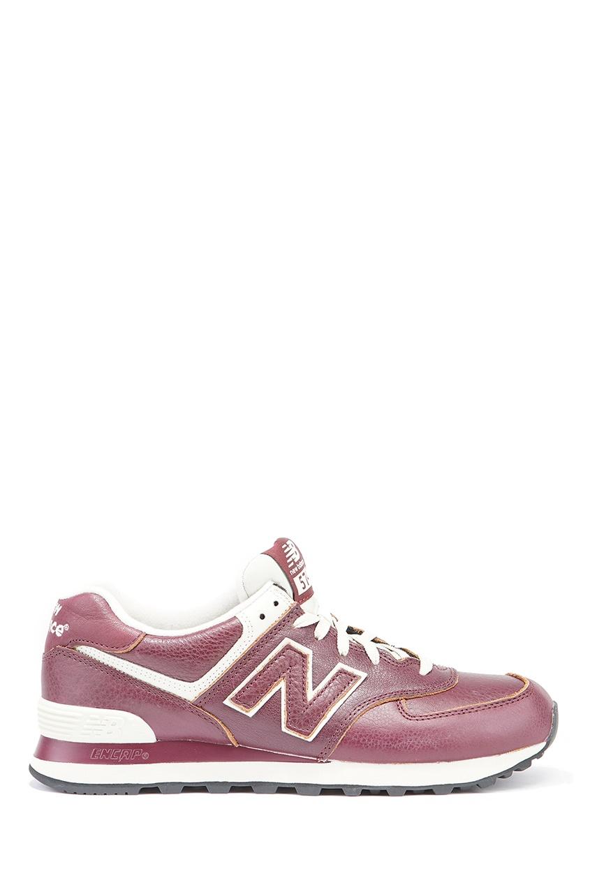New Balance Бордовые кожаные кроссовки №574 кроссовки new balance new balance ne007awuoa08