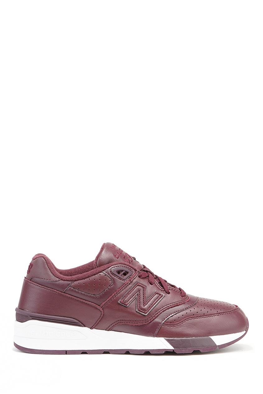 New Balance Бордовые кожаные кроссовки с перфорацией №597 кроссовки new balance gw500lgt b