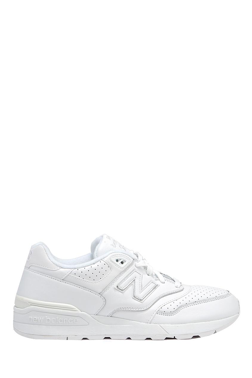New Balance Белые кожаные кроссовки с перфорацией №597 купить new balance u420ukg в сургуте
