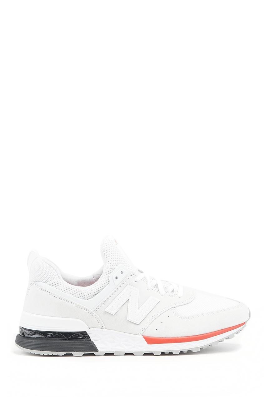 New Balance Белые кроссовки из замши и текстиля №574 кроссовки new balance new balance ne007awuoa08