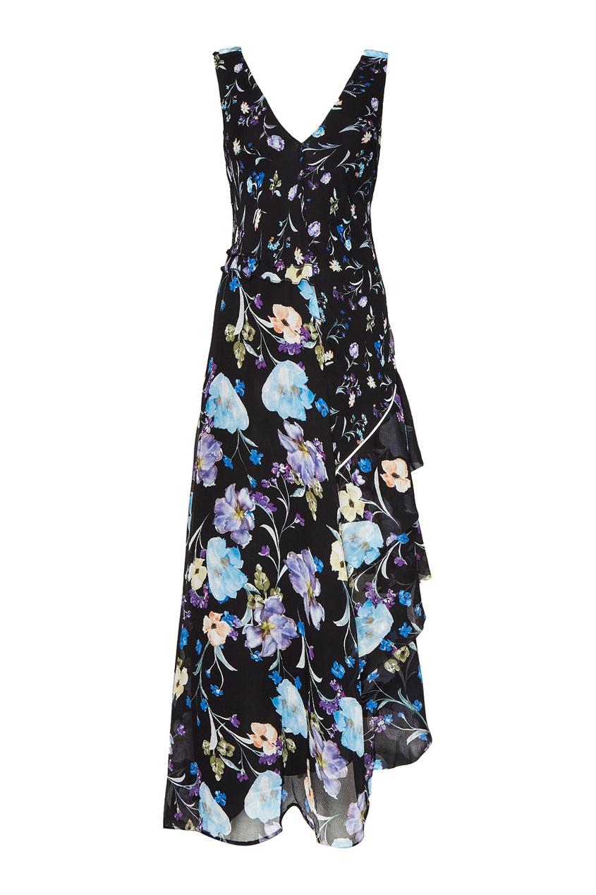 Черное шелковое платье с цветами