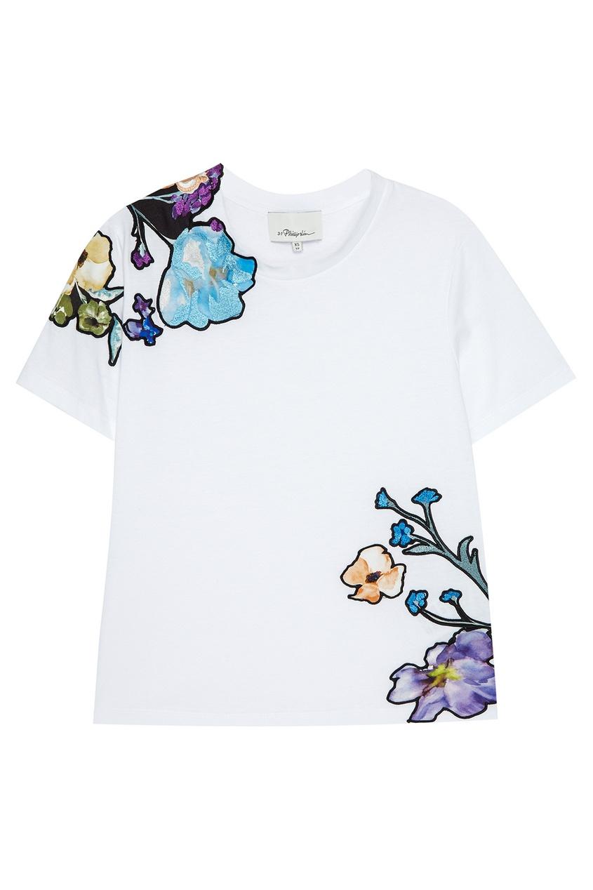 3.1 Phillip Lim Белая футболка с цветочной вышивкой футболка белая с принтом ido ут 00004169