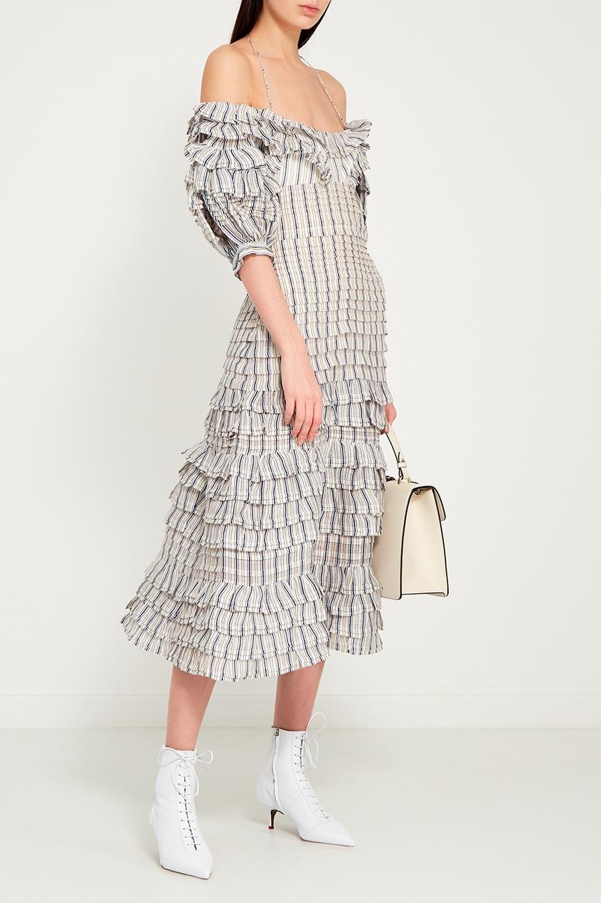 Платье в клетку из шелка и льна