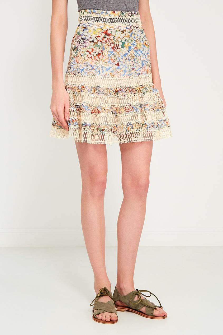 ZIMMERMANN Хлопковая юбка с вышивкой юбка с цветочным рисунком и воланом 25% шелка
