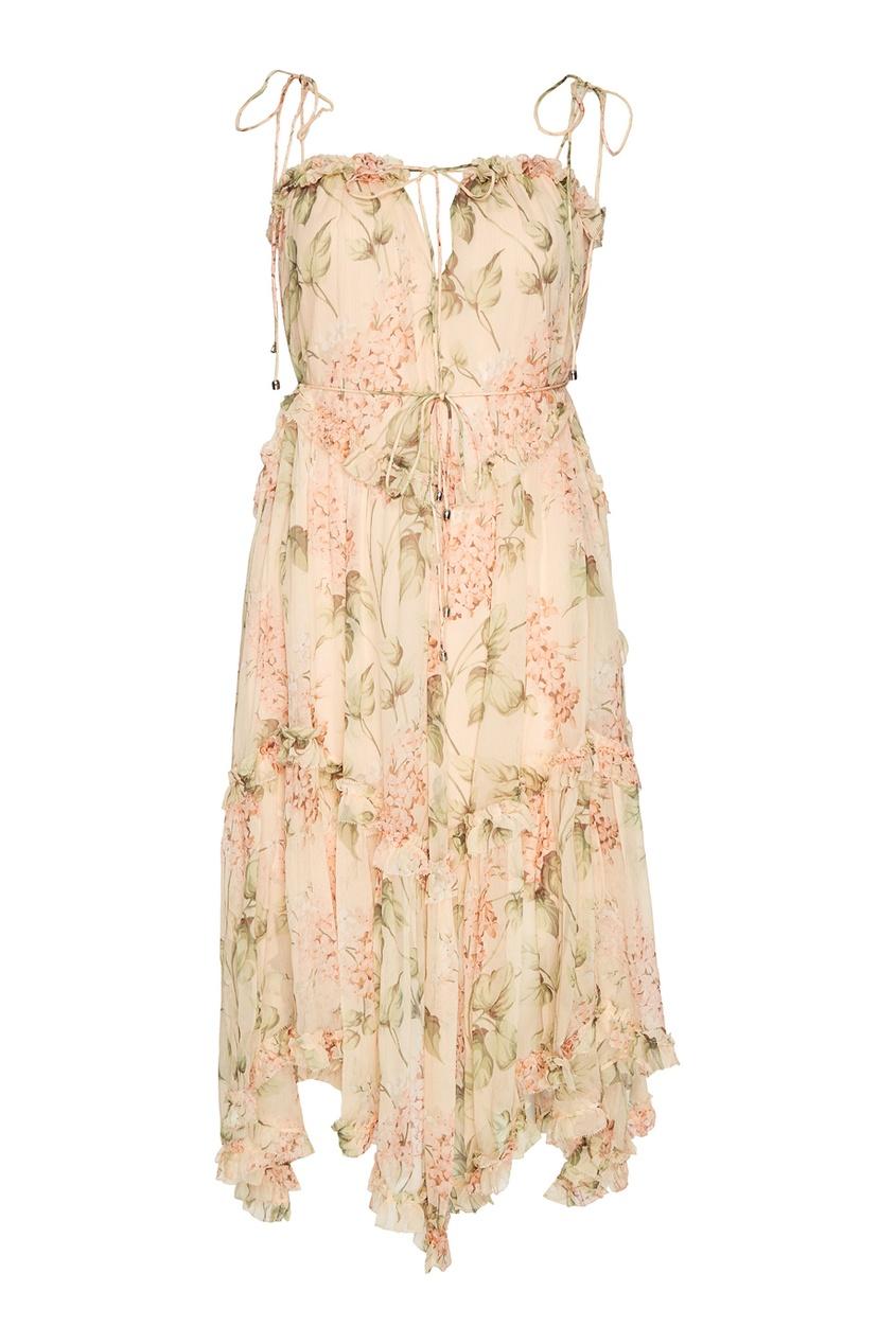 ZIMMERMANN Льняное платье с принтом платье с цветочным принтом