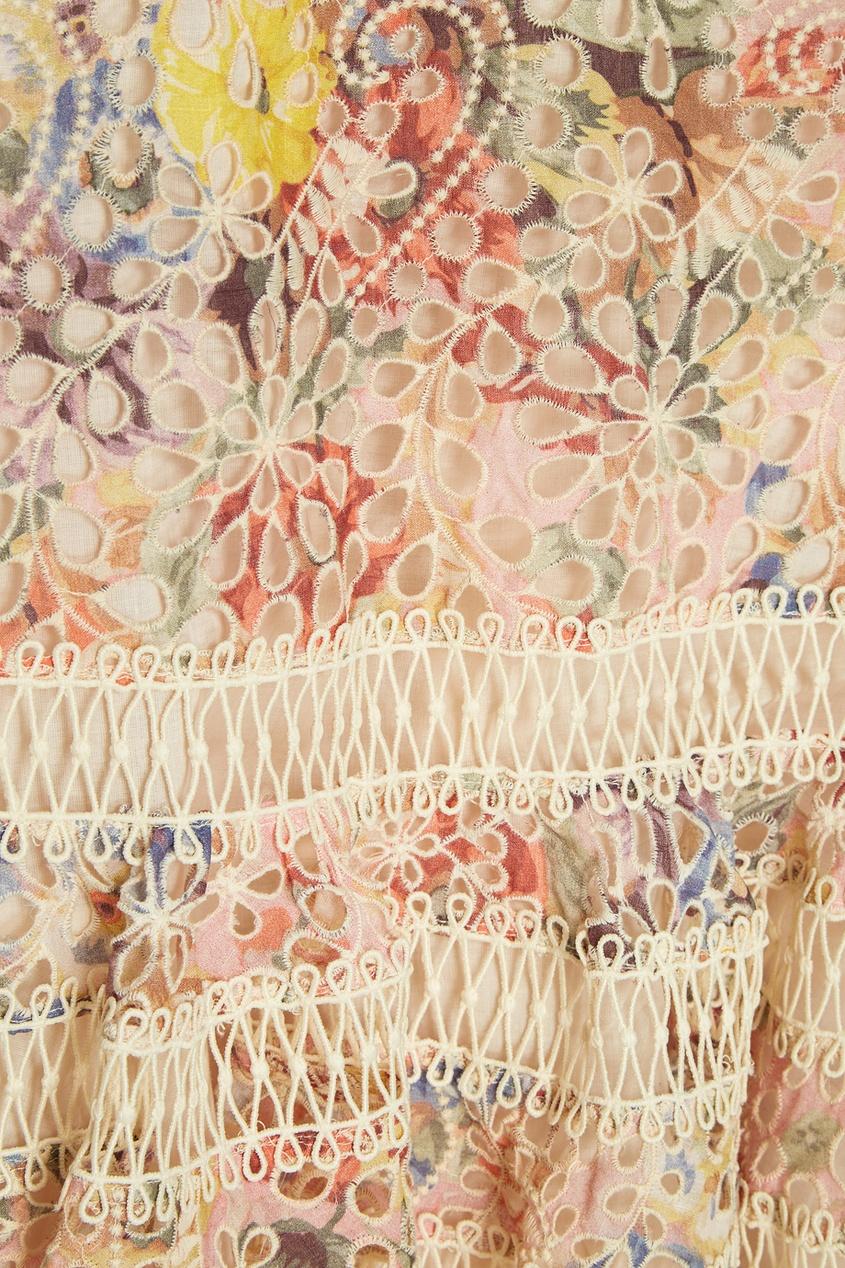 Хлопковое платье-мини с вышивкой