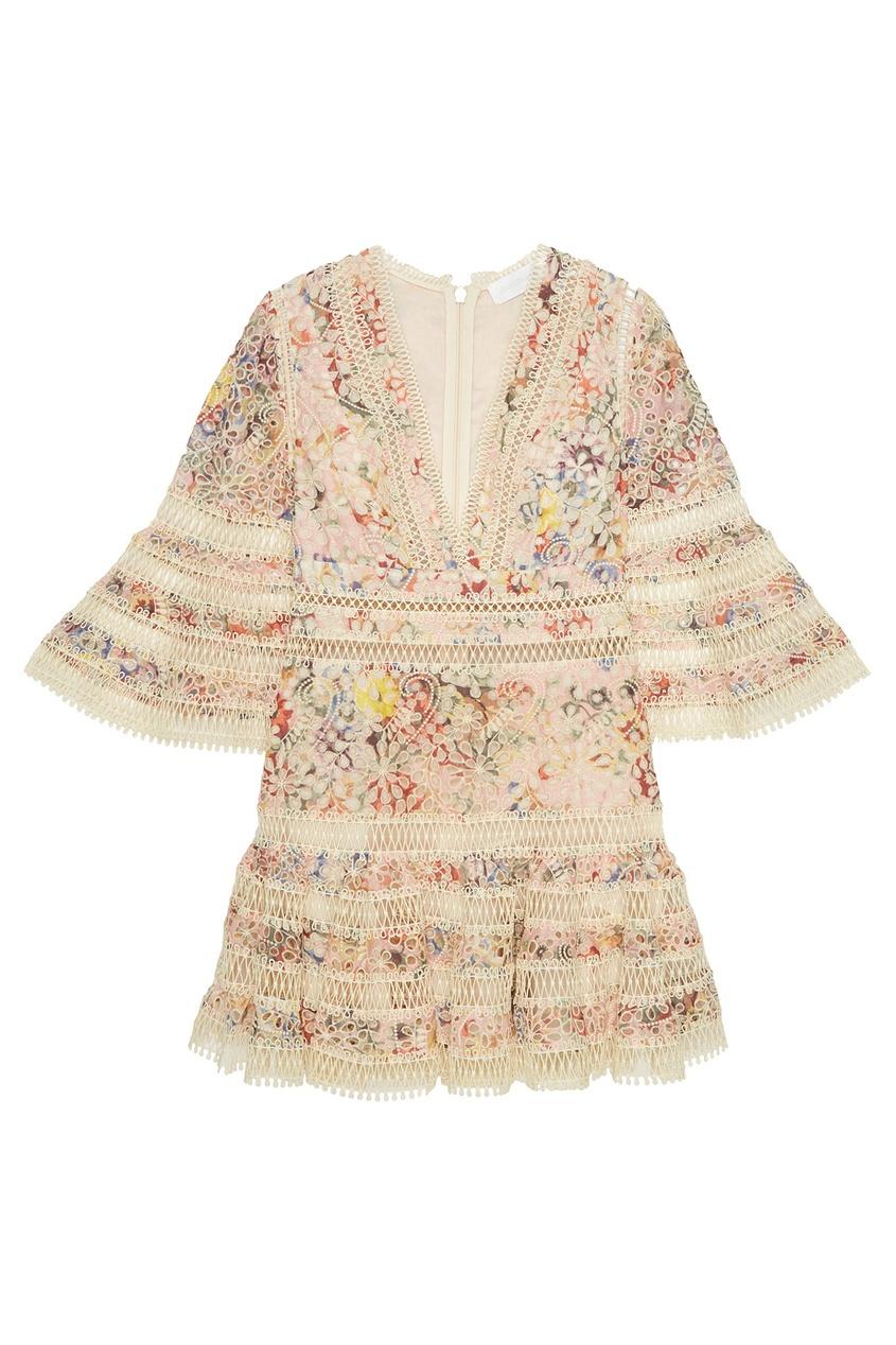 ZIMMERMANN Хлопковое платье-мини с вышивкой платье с вышивкой