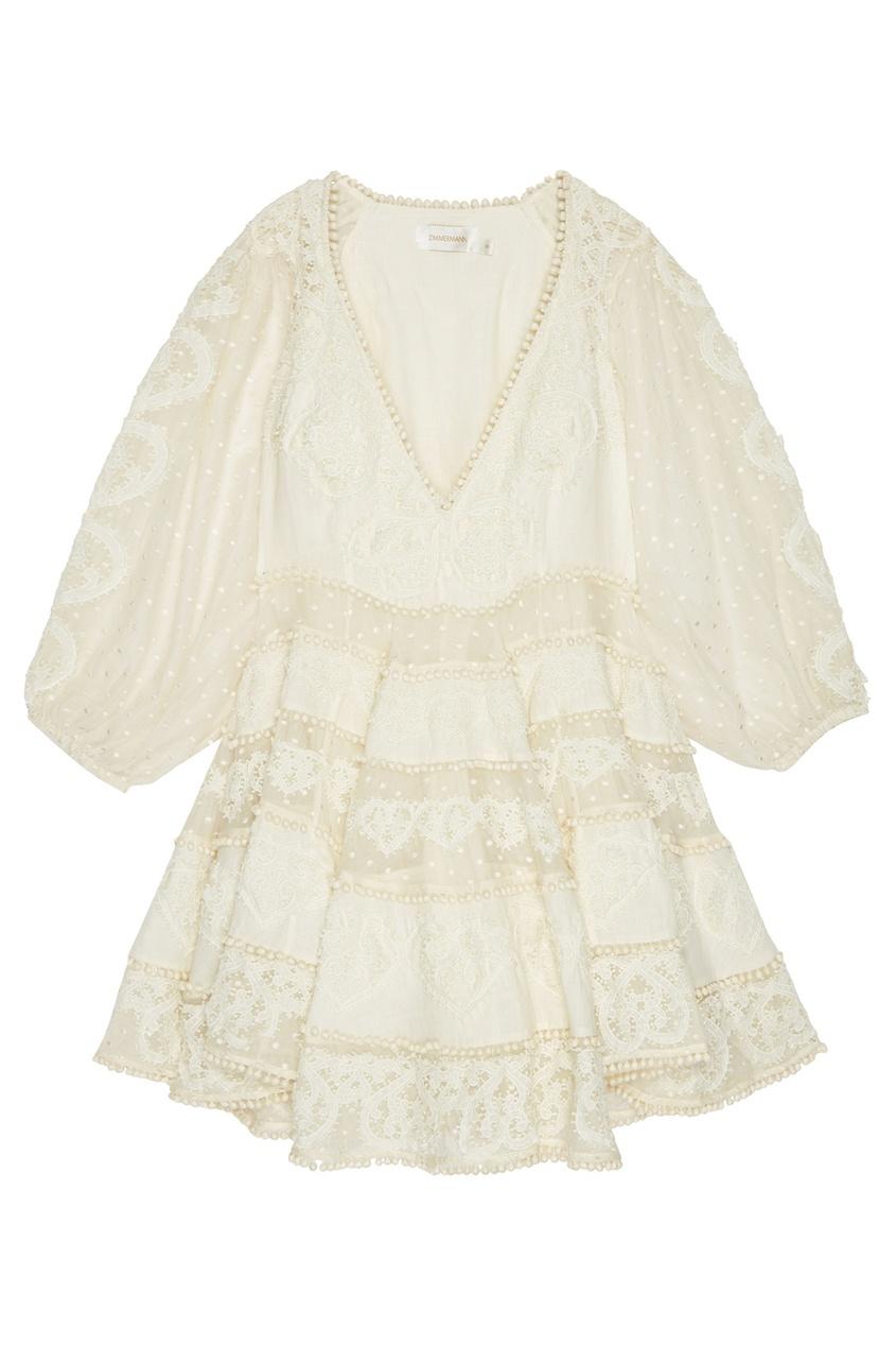 Платье из шелка и хлопка с кружевом
