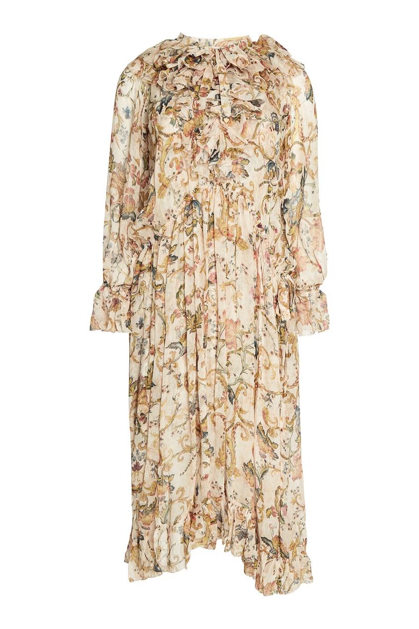 Льняное платье с принтом