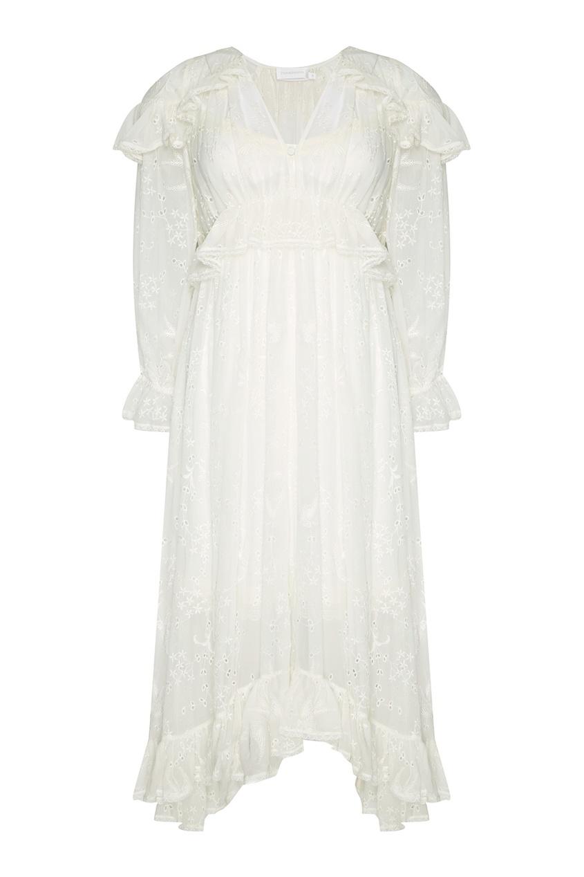 Шелковое платье с драпировками