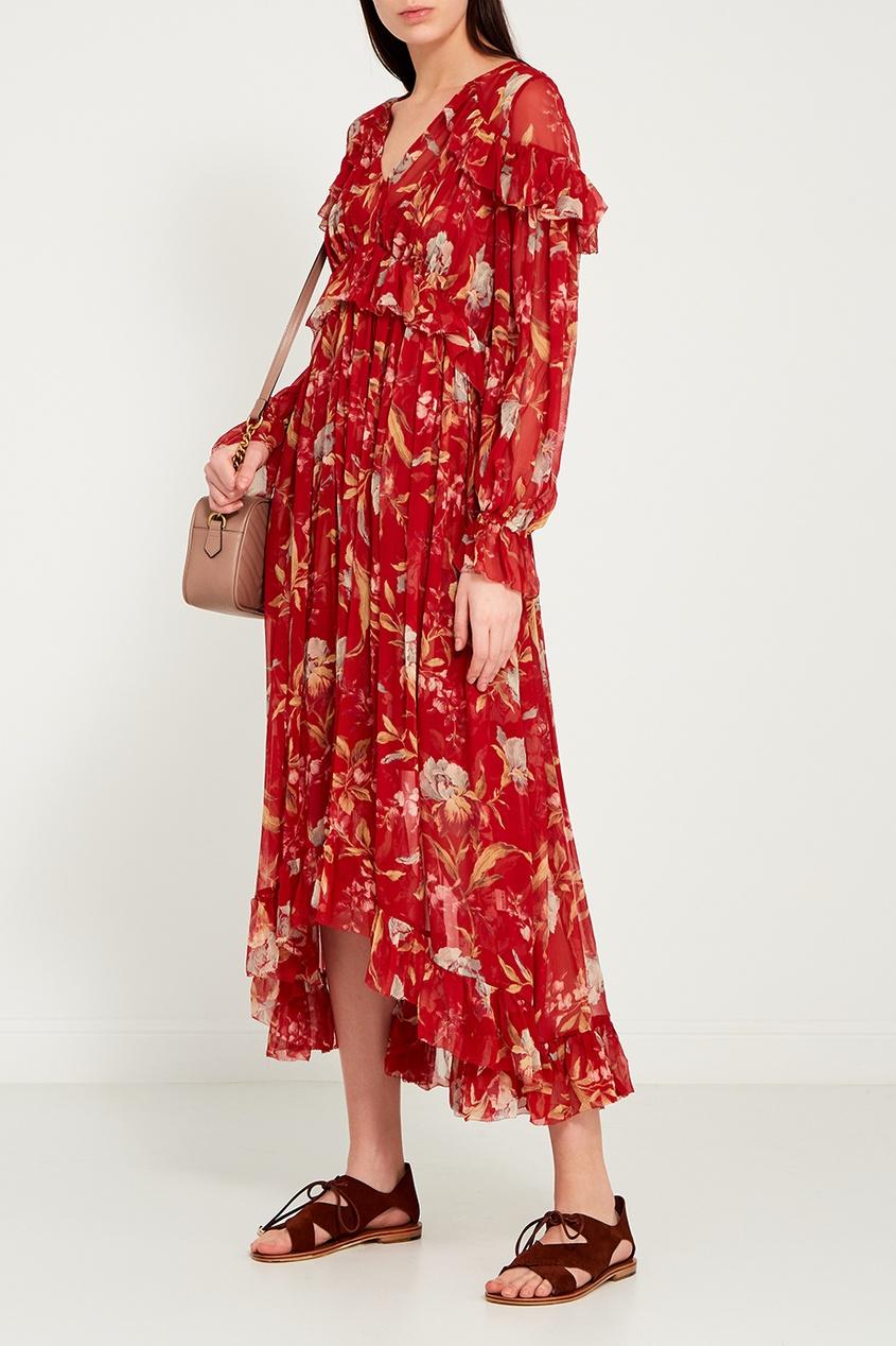 Красное льняное платье с цветами