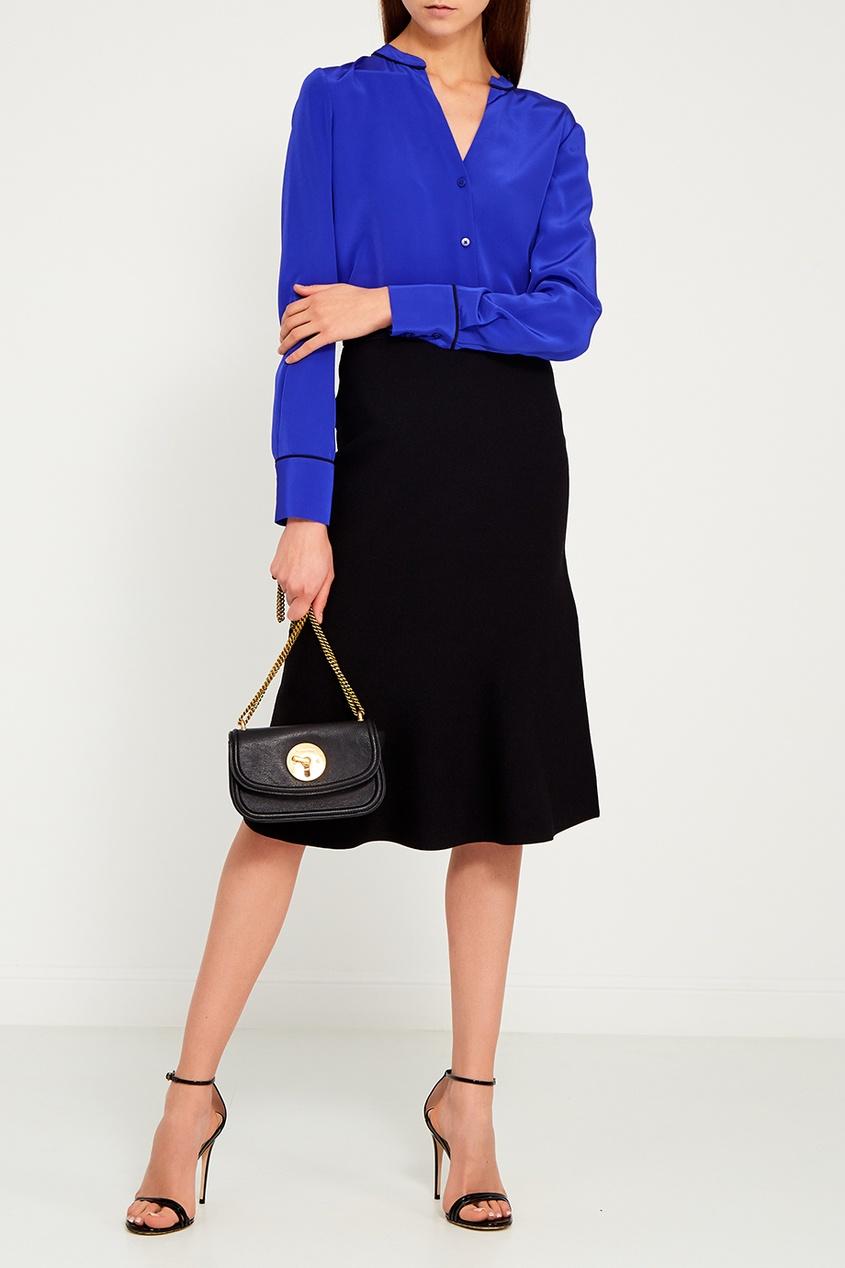 Diane von Furstenberg Синяя шелковая блузка diane von furstenberg шелковая блузка gilmore habotai