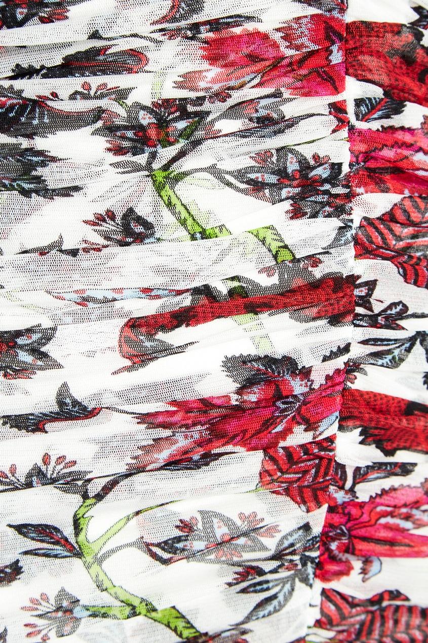 Diane von Furstenberg Белое драпированное платье с цветами