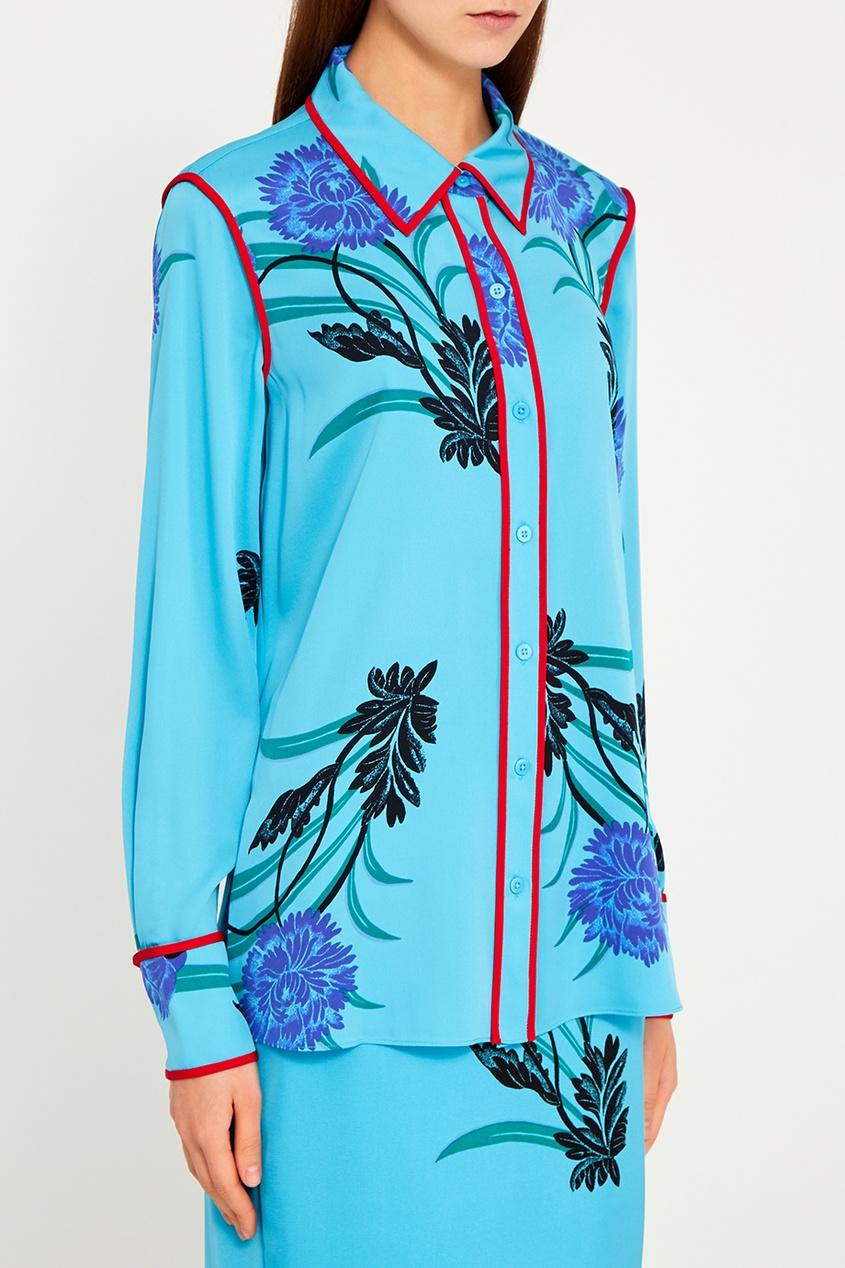 Diane von Furstenberg Шелковая блузка с васильками diane von furstenberg шелковая блузка gilmore habotai
