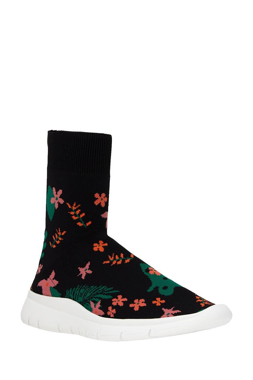 Фото 2 - Текстильные кроссовки с цветами от Joshua Sanders черного цвета