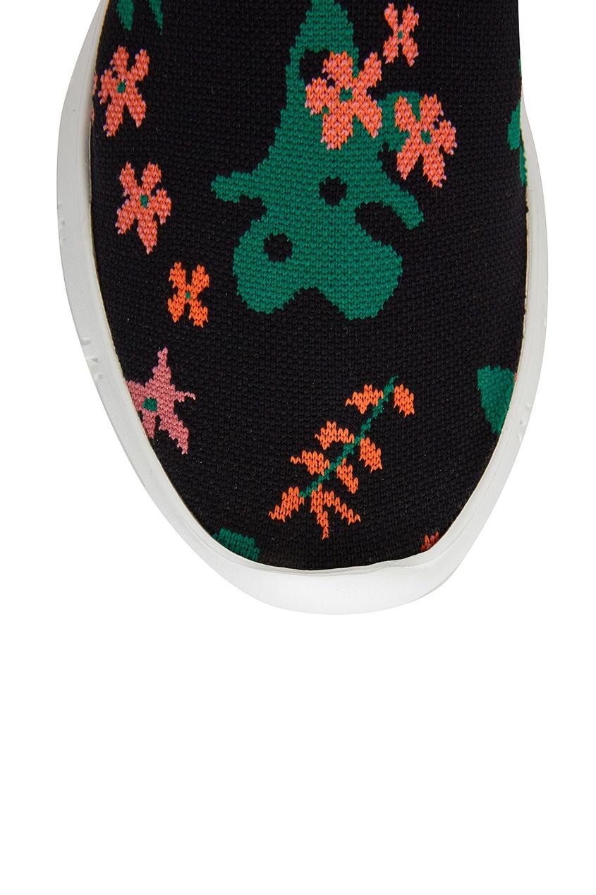 Фото 4 - Текстильные кроссовки с цветами от Joshua Sanders черного цвета
