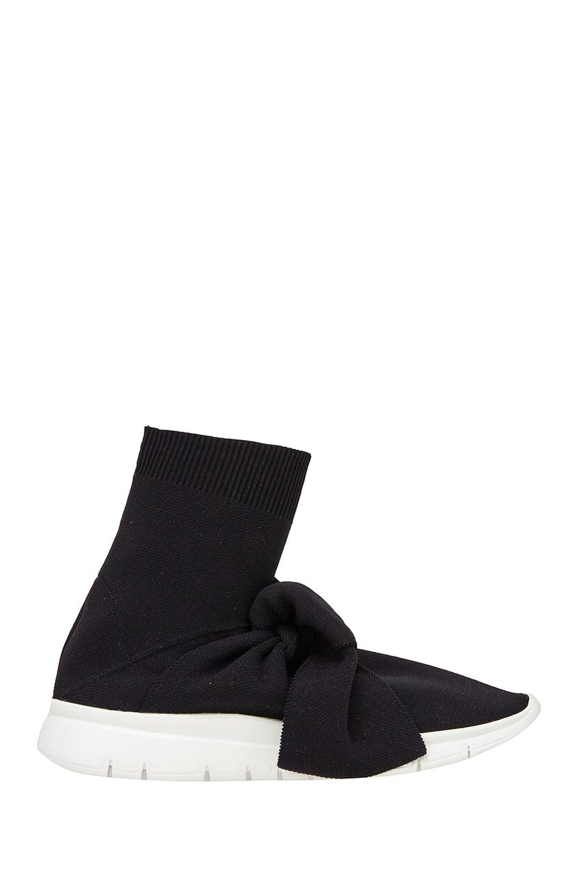 Joshua Sanders Черные текстильные кроссовки с бантом