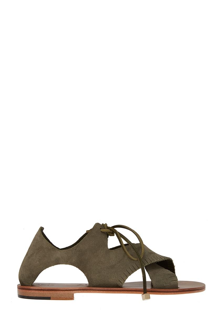 Alvaro Зеленые сандалии из замши