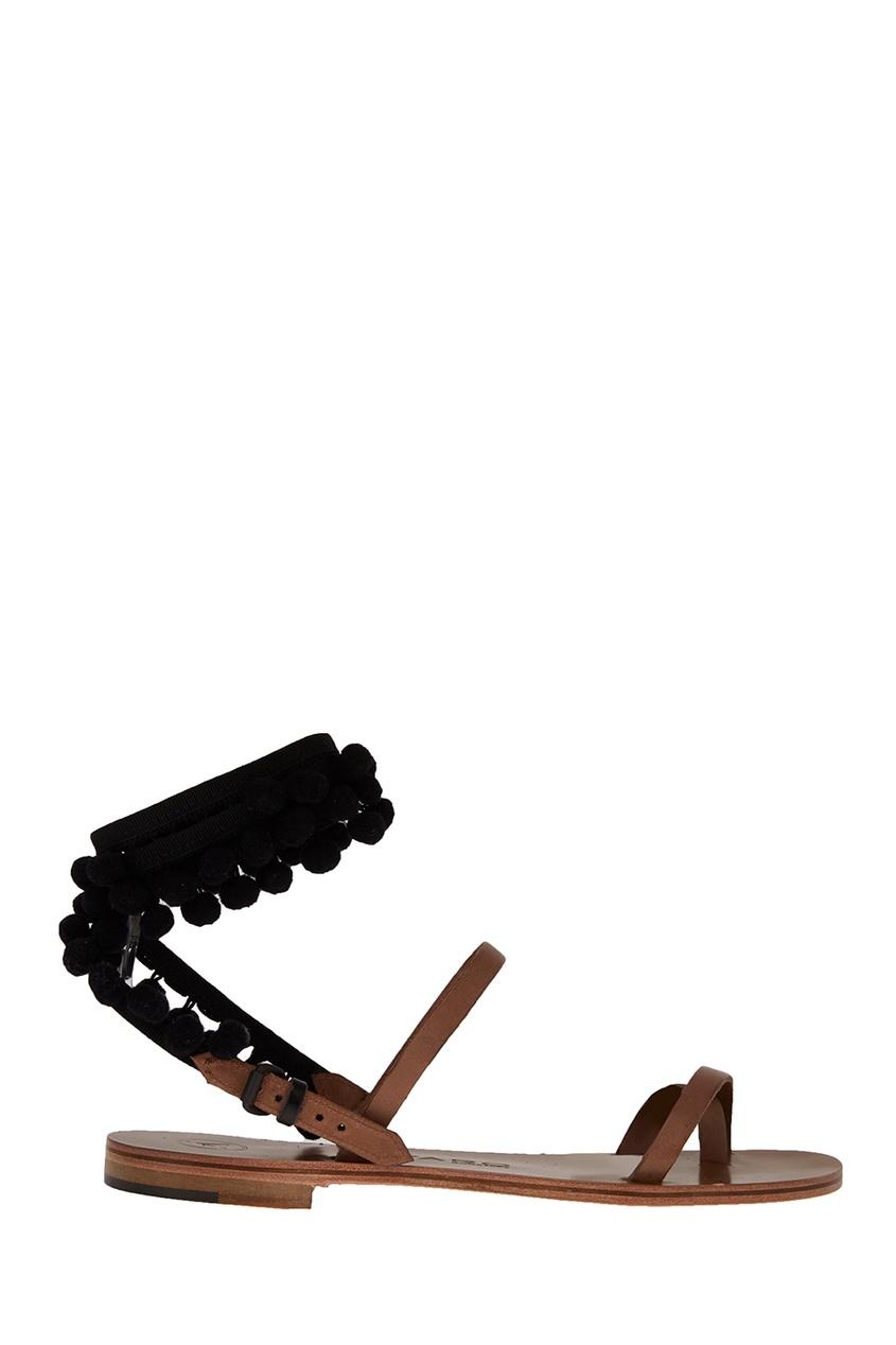 Alvaro Кожаные сандалии с помпонами ботинки блестящие с помпонами 19 24