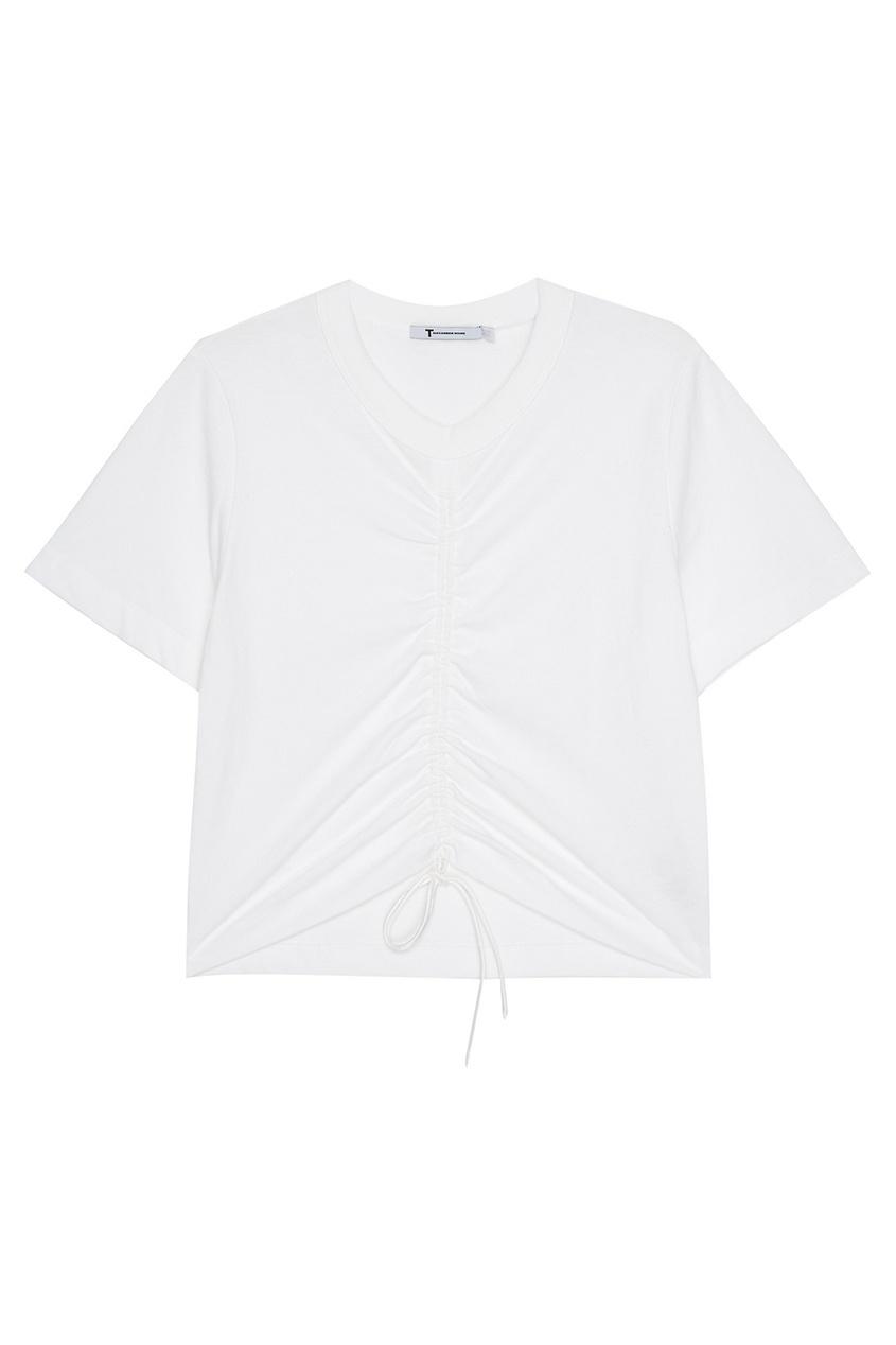T by Alexander Wang Белая футболка с драпировкой футболка белая catimini ут 00011611