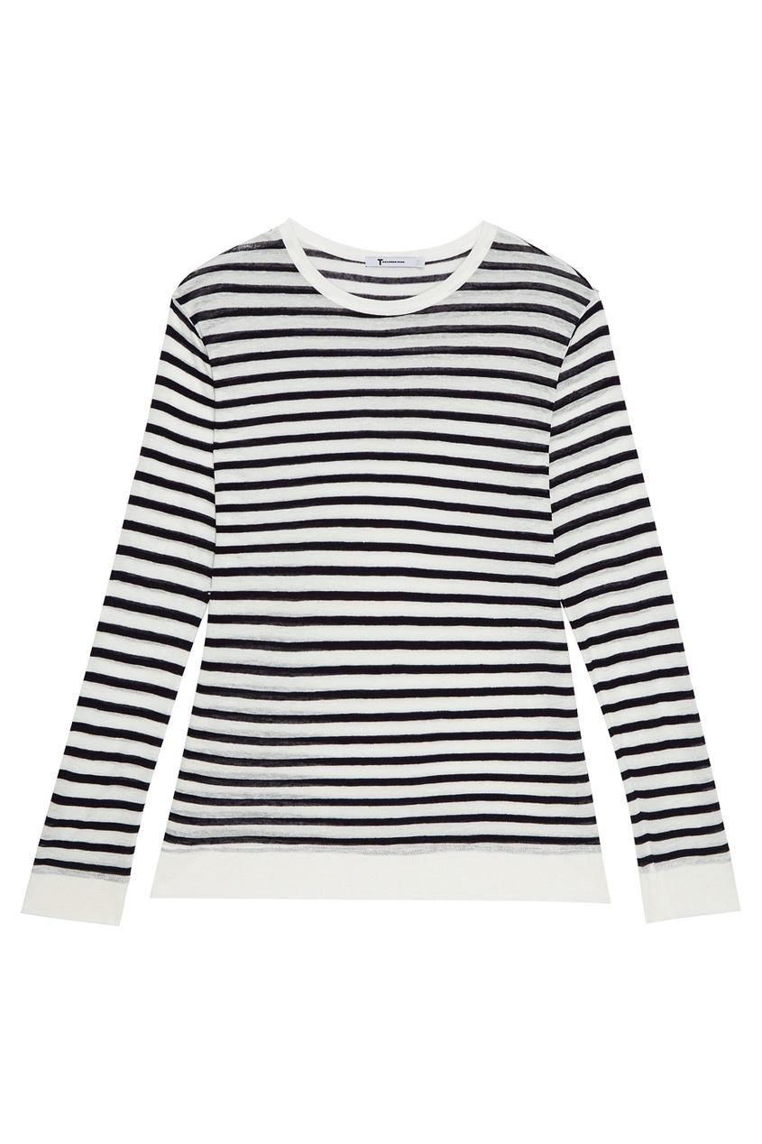 T by Alexander Wang Джемпер oversize в полоску свитеры bella kareema свитер удлиненный в черно синюю полоску