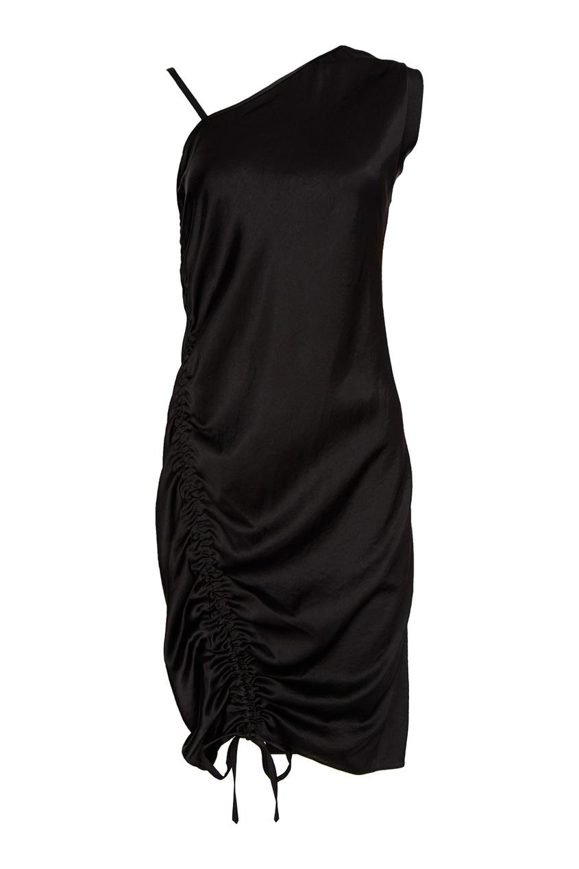 Асимметричное платье с драпировками