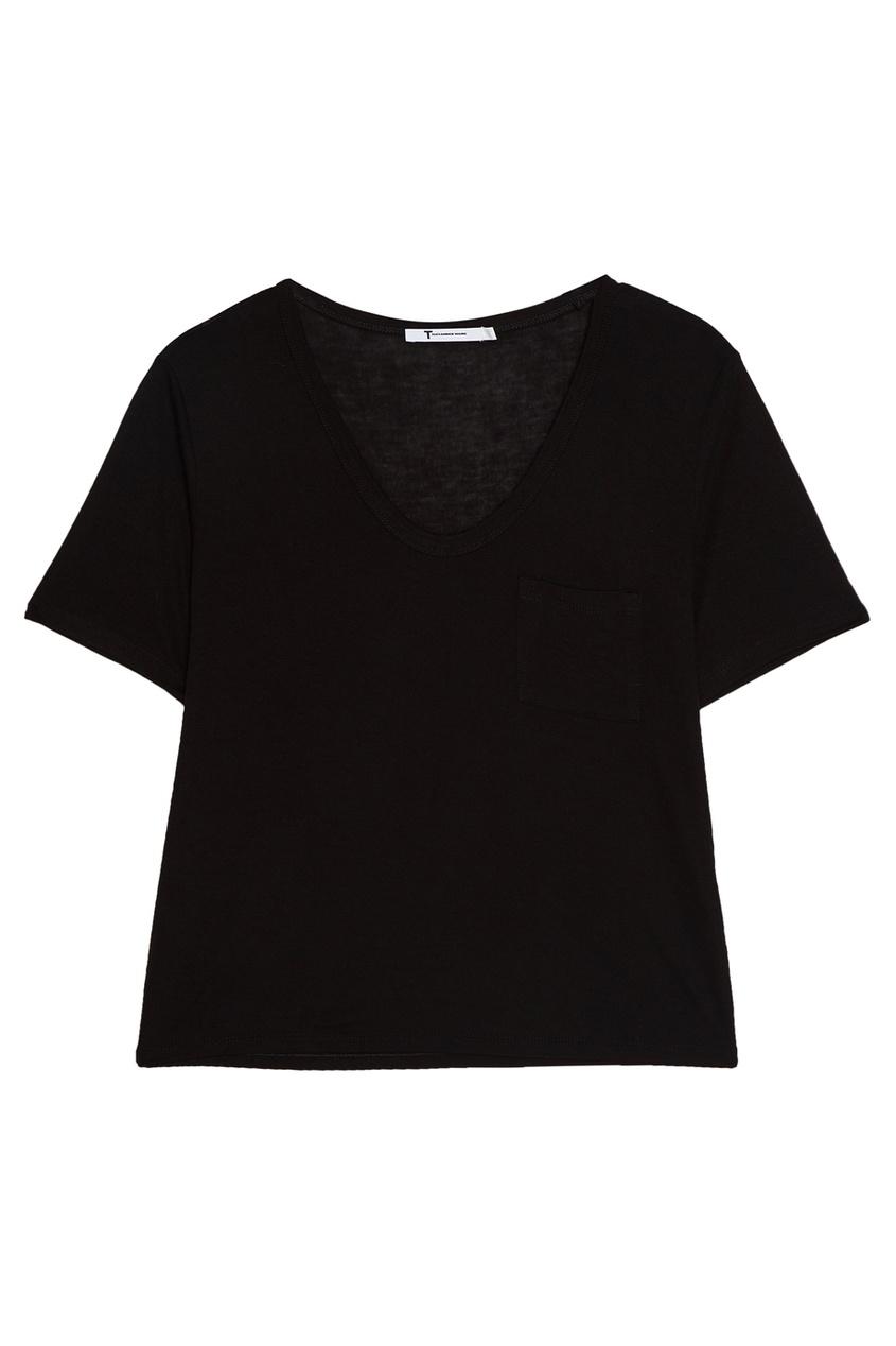T by Alexander Wang Черная футболка с овальным вырезом t by alexander wang легинсы