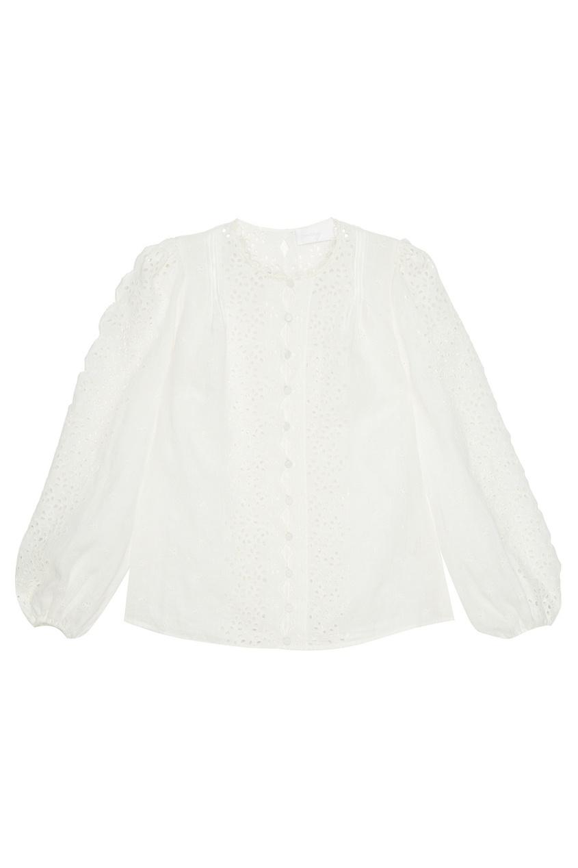 ZIMMERMANN Блузка из вышитого льна блузка с вышивкой в этническом стиле