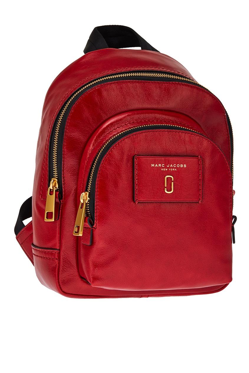 Красный кожаный рюкзак с логотипом