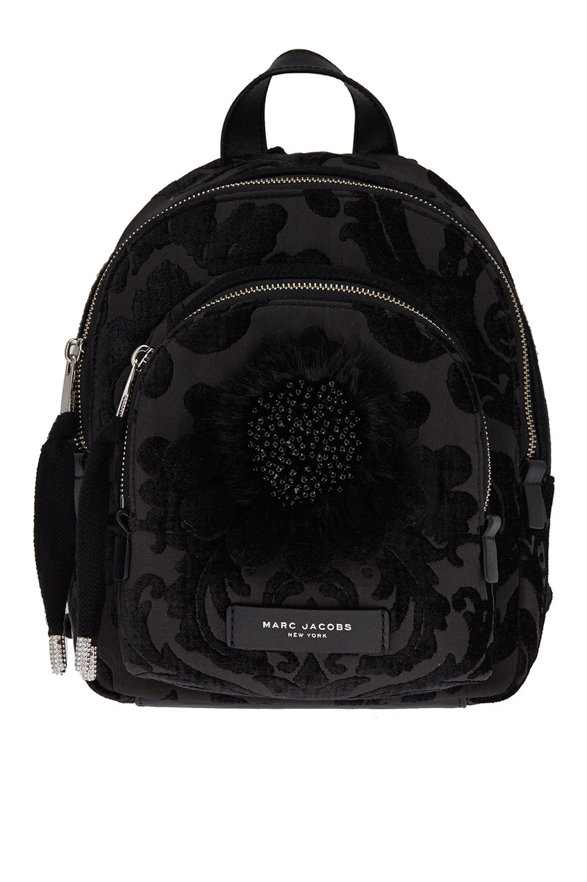 Черный текстильный рюкзак с помпонами