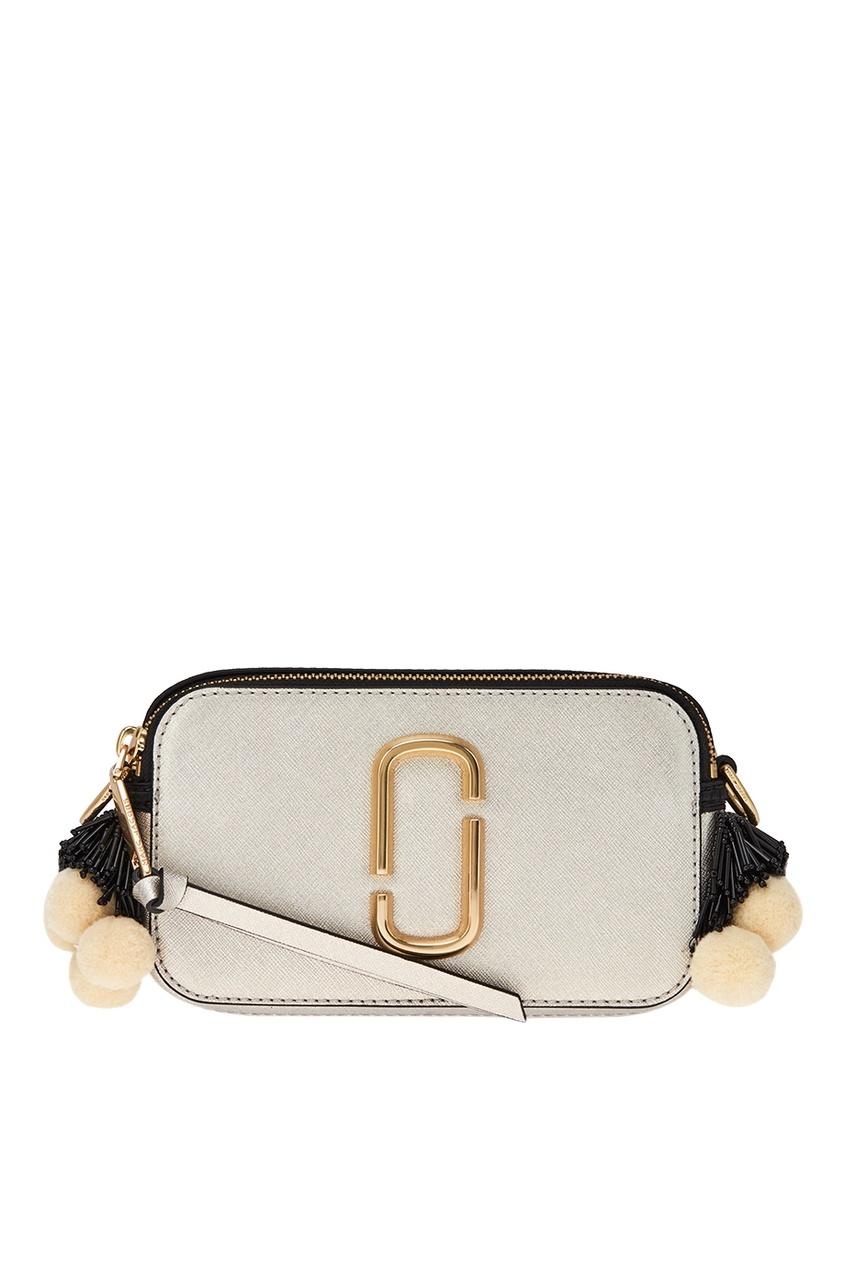 Marc Jacobs Серебристая сумка с помпонами Snapshot ботинки блестящие с помпонами 19 24