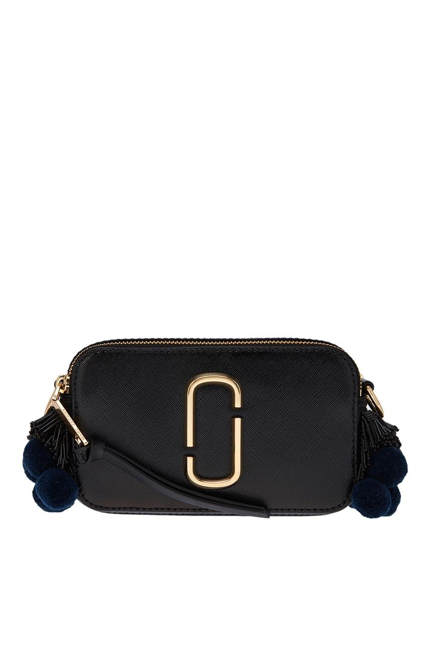 Marc Jacobs Черная сумка с помпонами Snapshot ботинки блестящие с помпонами 19 24