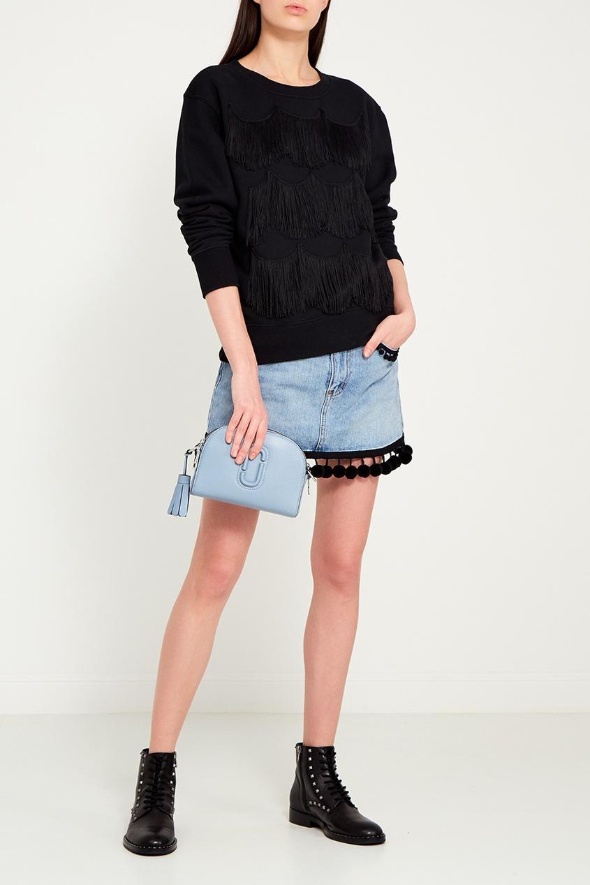 Marc Jacobs Джинсовая юбка с помпонами ботинки блестящие с помпонами 19 24