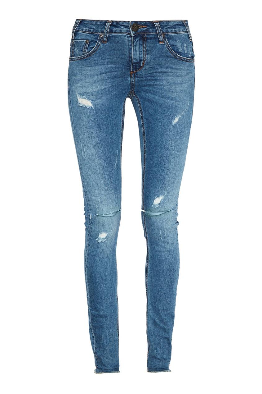 Синие джинсы-скинни с прорезями