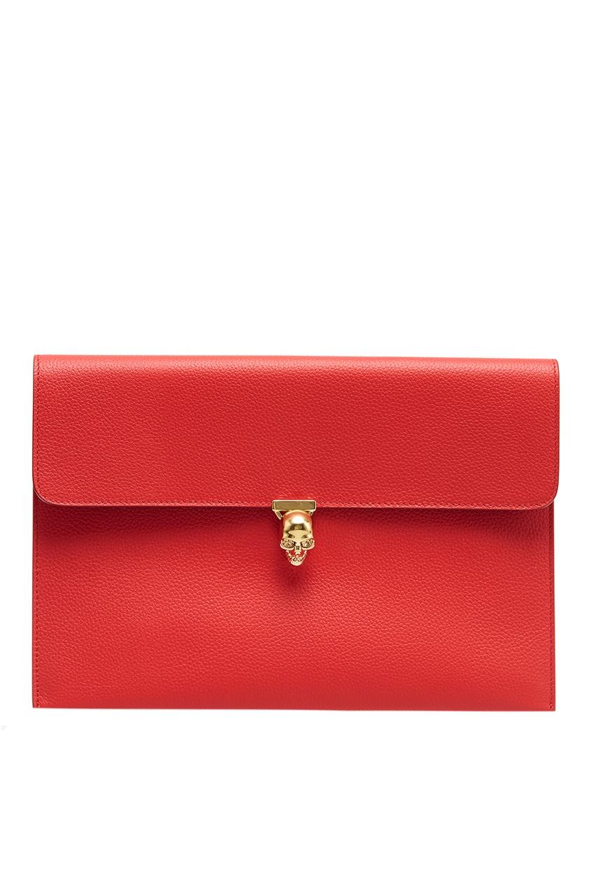 Красная кожаная сумка-конверт