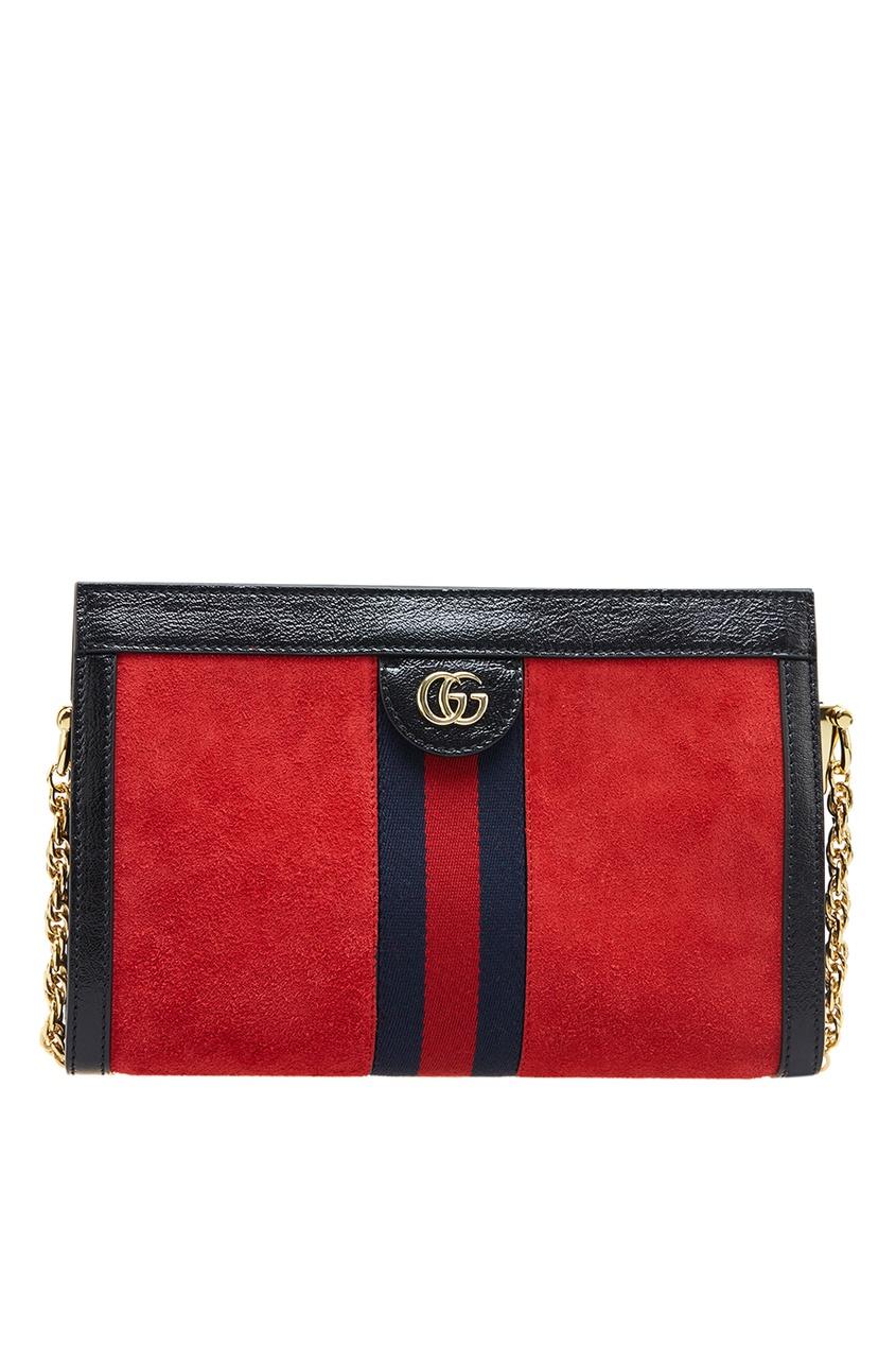 Купить Красная сумка из замши Ophidia от Gucci красного цвета